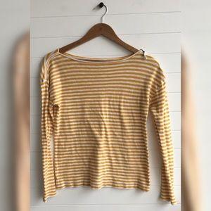 [LOFT] Striped Shoulder Zip Basic Long Sleeve Tee